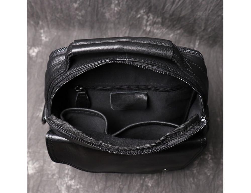 Чёрный кожаный месседжер мужской Vintage Vn88992A - Фото № 9