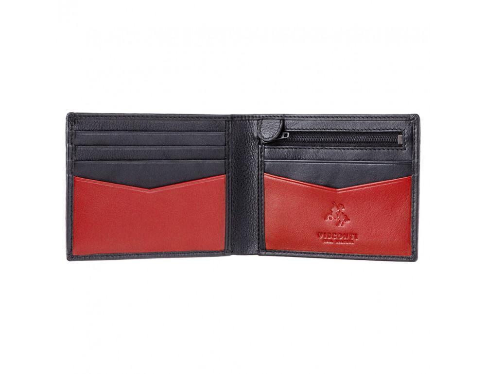 Мужской кожаный кошелек Visconti VSL20 BLK/RED с RFID чёрный с красным - Фото № 2