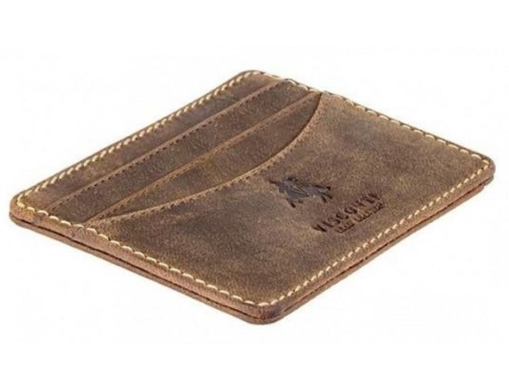 Кожаный кошелек-картхолдер VSL25 OIL TAN коричневый - Фото № 3