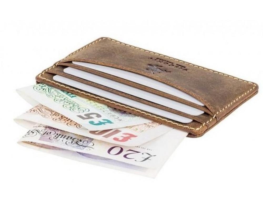 Кожаный кошелек-картхолдер VSL25 OIL TAN коричневый - Фото № 4