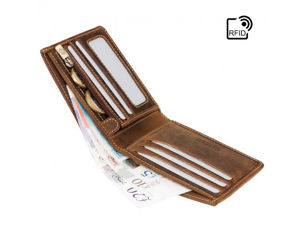 Винтажный мужской кошелёк из натуральной кожи Visconti VSL33 OIL TAN - Фото № 4