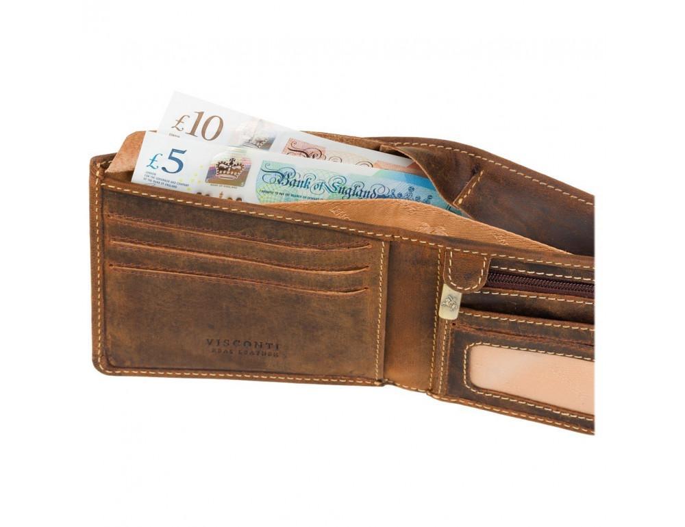 Винтажный мужской кошелёк из натуральной кожи Visconti VSL33 OIL TAN - Фото № 5