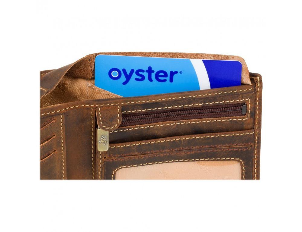 Винтажный мужской кошелёк из натуральной кожи Visconti VSL33 OIL TAN - Фото № 6