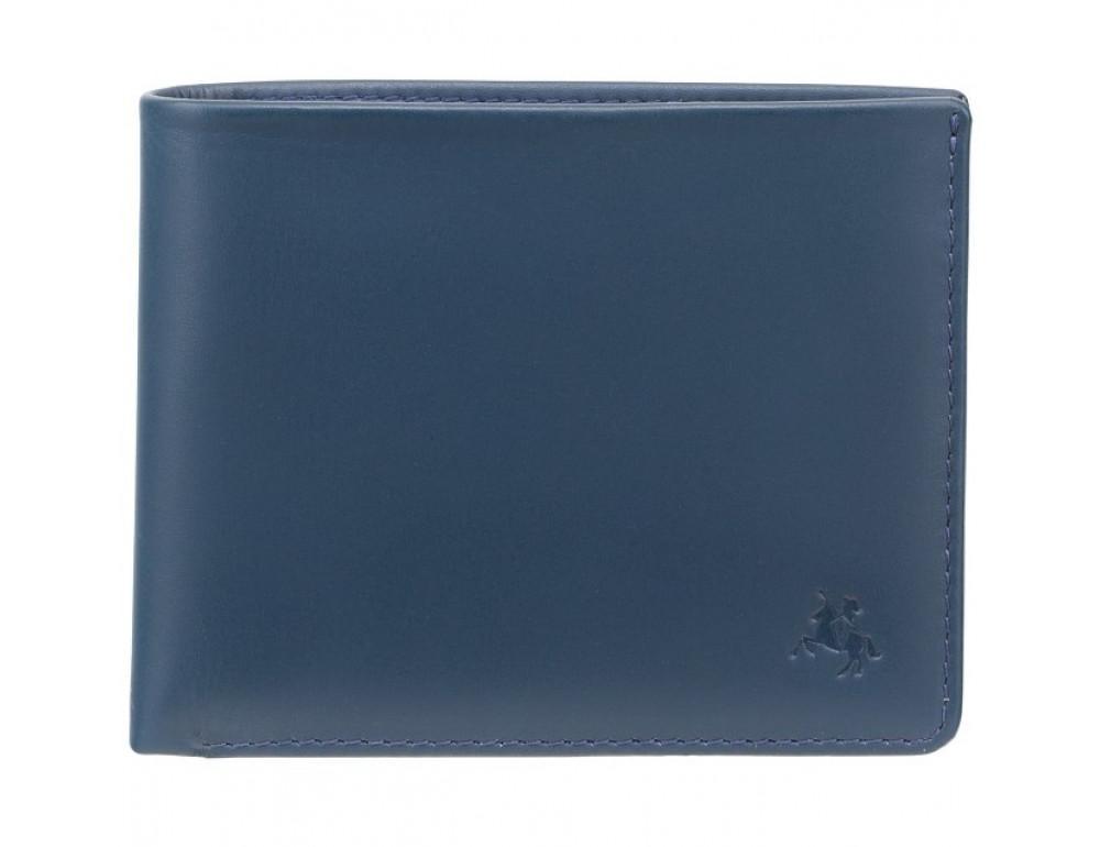 Синий мужской кожаный кошелек Visconti VSL33 BL/BLK c RFID - Фото № 1