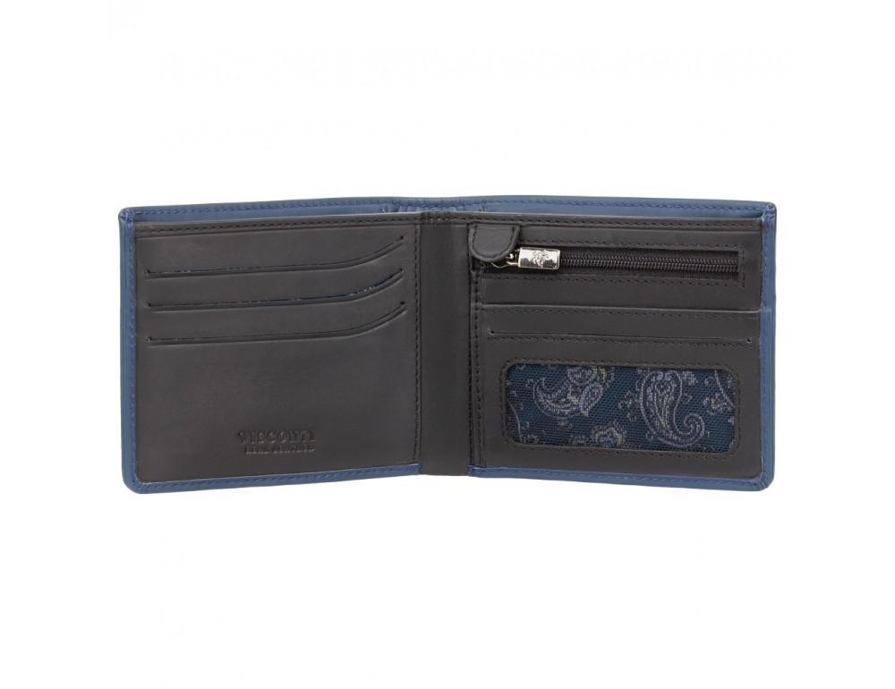 Синий мужской кожаный кошелек Visconti VSL33 BL/BLK c RFID - Фото № 2