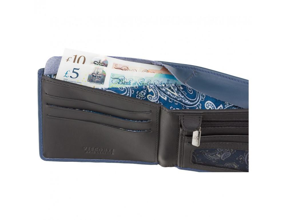 Синий мужской кожаный кошелек Visconti VSL33 BL/BLK c RFID - Фото № 5