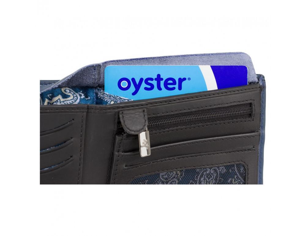 Синий мужской кожаный кошелек Visconti VSL33 BL/BLK c RFID - Фото № 6