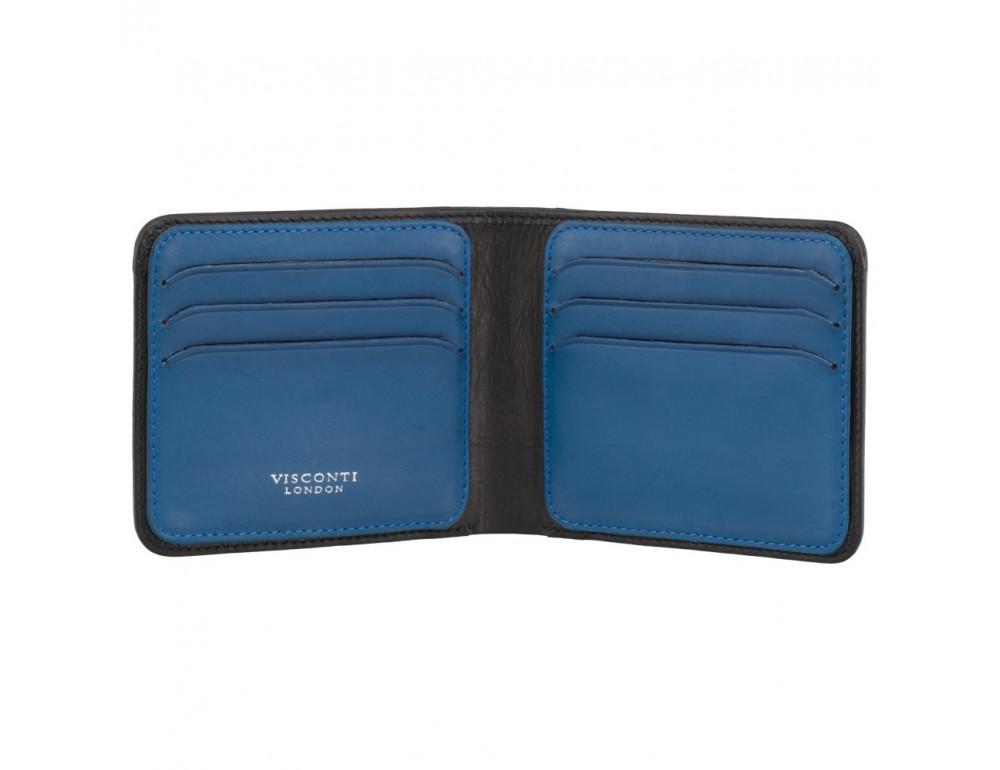 Стильный мужской кожаный портмоне Visconti VSL35 BK/CB Trim c RFID (Black-Cobalt)