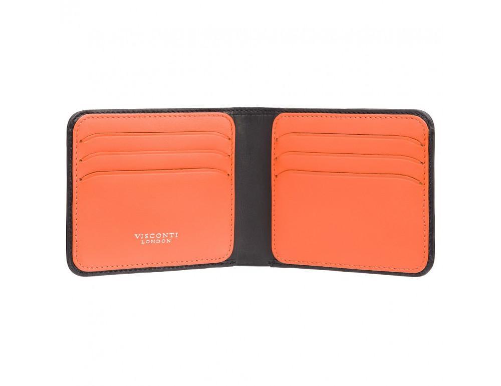 Чёрный кожаный портмоне для мужчины Visconti VSL35 BK/OR Trim c RFID (Black-Orange)
