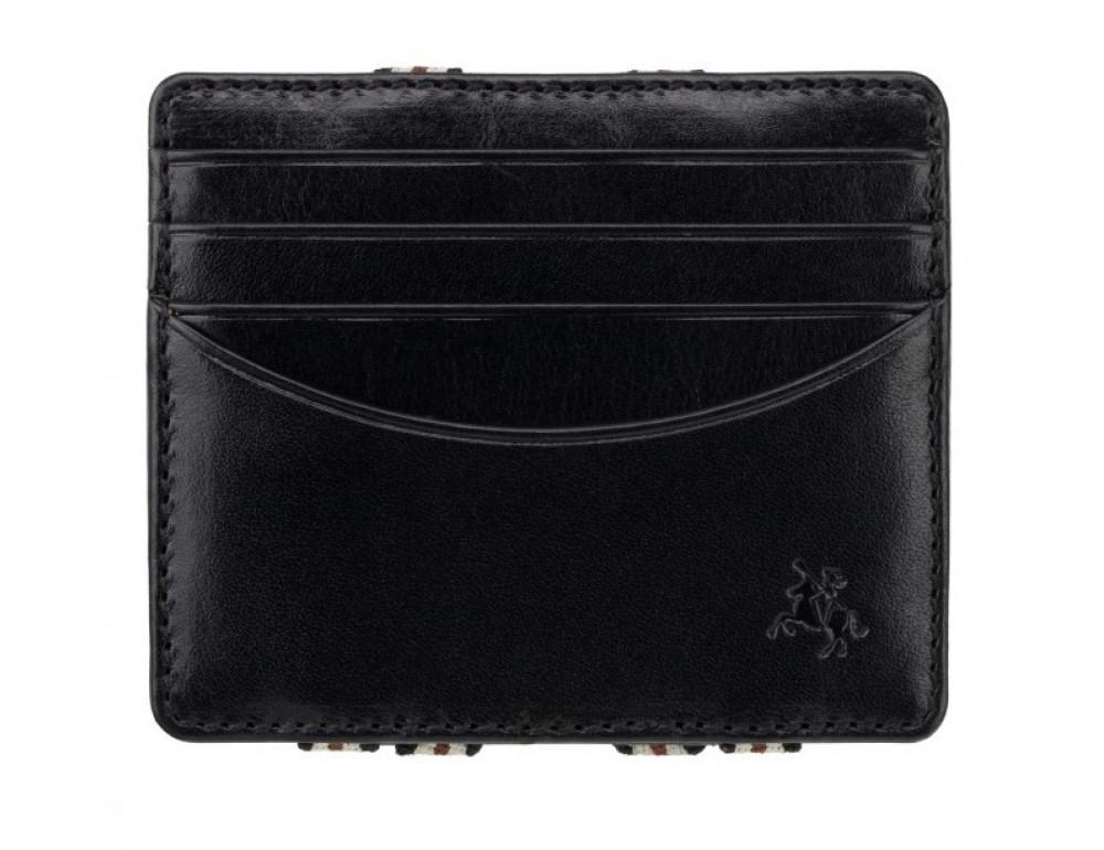 Чёрный кожаный картхоледр - мини кошелёк Visconti  VSL38 BLK - Фото № 1