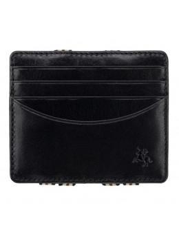Чёрный кожаный картхоледр - мини кошелёк Visconti VSL38 BLK