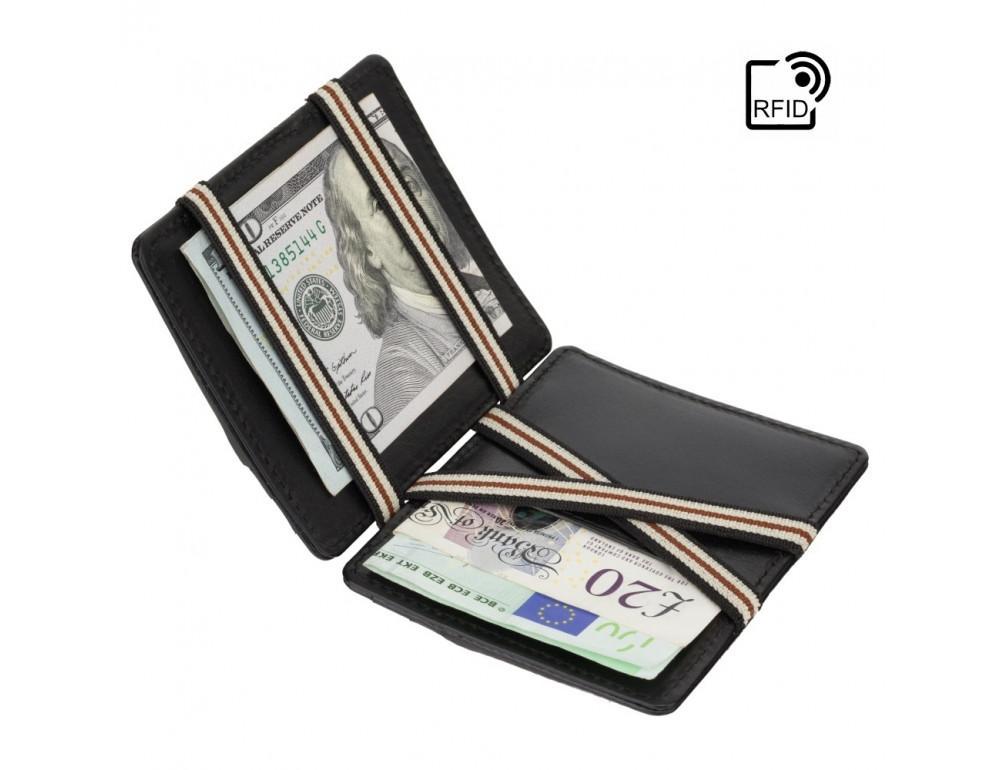 Чёрный кожаный картхоледр - мини кошелёк Visconti  VSL38 BLK - Фото № 4