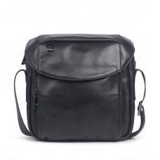 Чёрная кожаная сумка мессенджер Vintage Vt1026A
