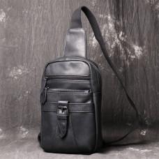 Чёрная кожаная сумка слинг Vintage Vt1231A