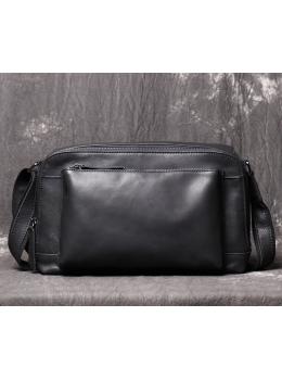 Черная кожаная сумка под документы А-5 Vintage Vt8009A