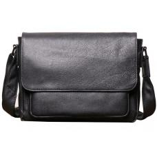 Чорна горизонтальна чоловіча сумка зі шкіри Vintage Vt8710A