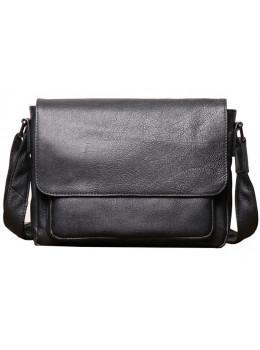 Чёрная горизонтальная мужская сумка из кожи Vintage Vt8710A