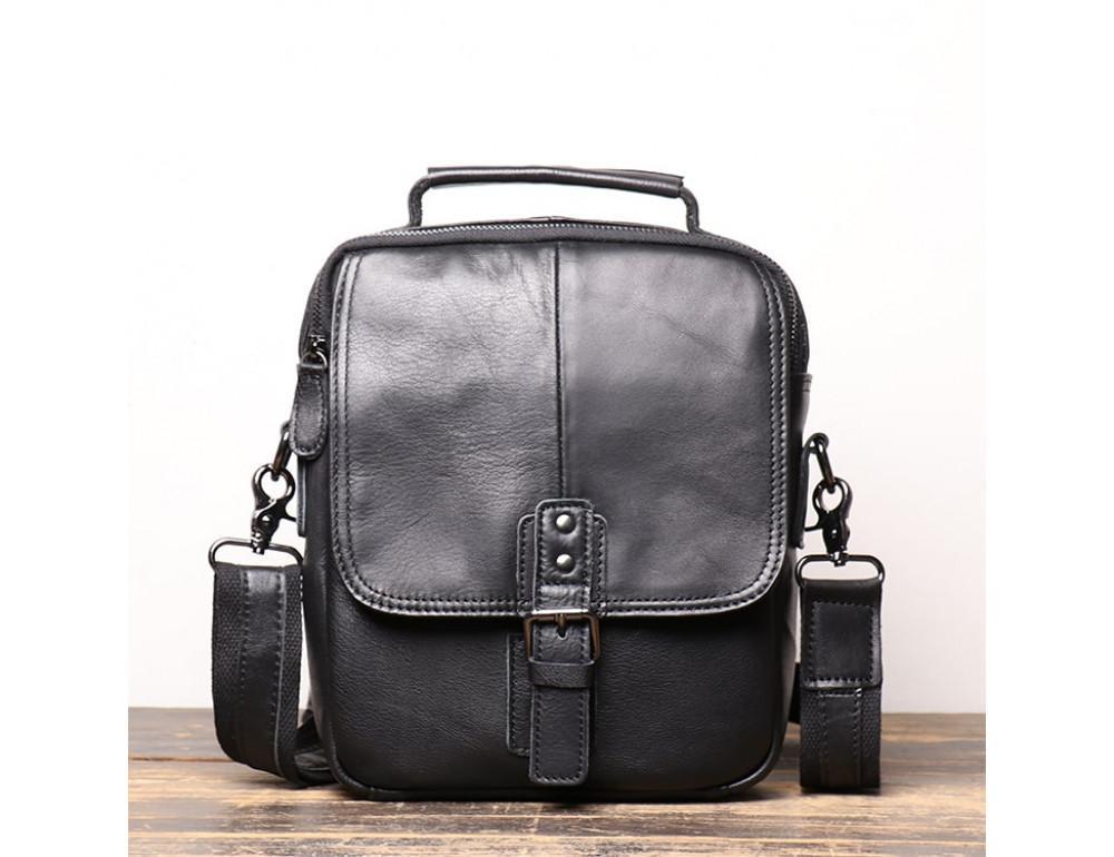 Чёрный кожаный месседжер мужской Vintage Vt99887A - Фото № 1