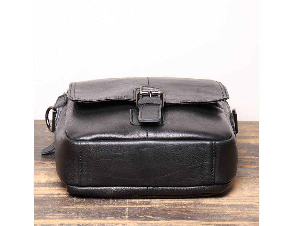 Чёрный кожаный месседжер мужской Vintage Vt99887A - Фото № 3