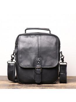 Чёрный кожаный месседжер мужской Vintage Vt99887A