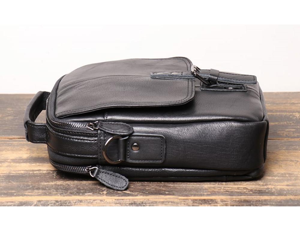 Чёрный кожаный месседжер мужской Vintage Vt99887A - Фото № 4