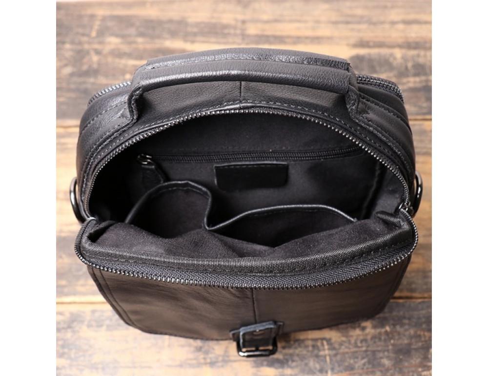Чёрный кожаный месседжер мужской Vintage Vt99887A - Фото № 6