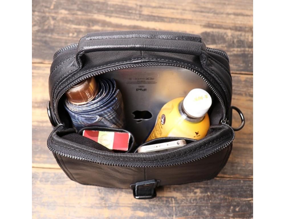 Чёрный кожаный месседжер мужской Vintage Vt99887A - Фото № 7