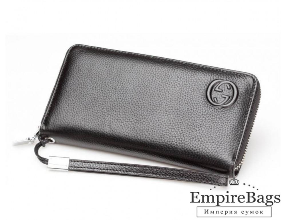 Кожаный клатч Gucci Wallet4-7008 чёрный