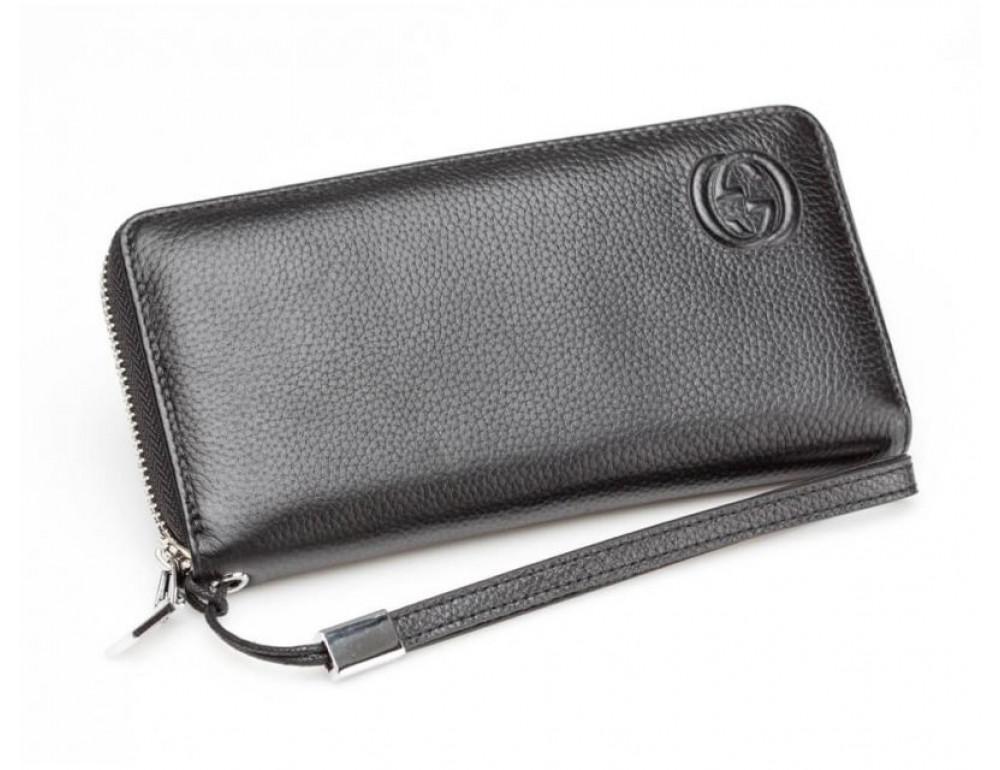 Кожаный клатч Gucci Wallet4-7008 чёрный - Фото № 2