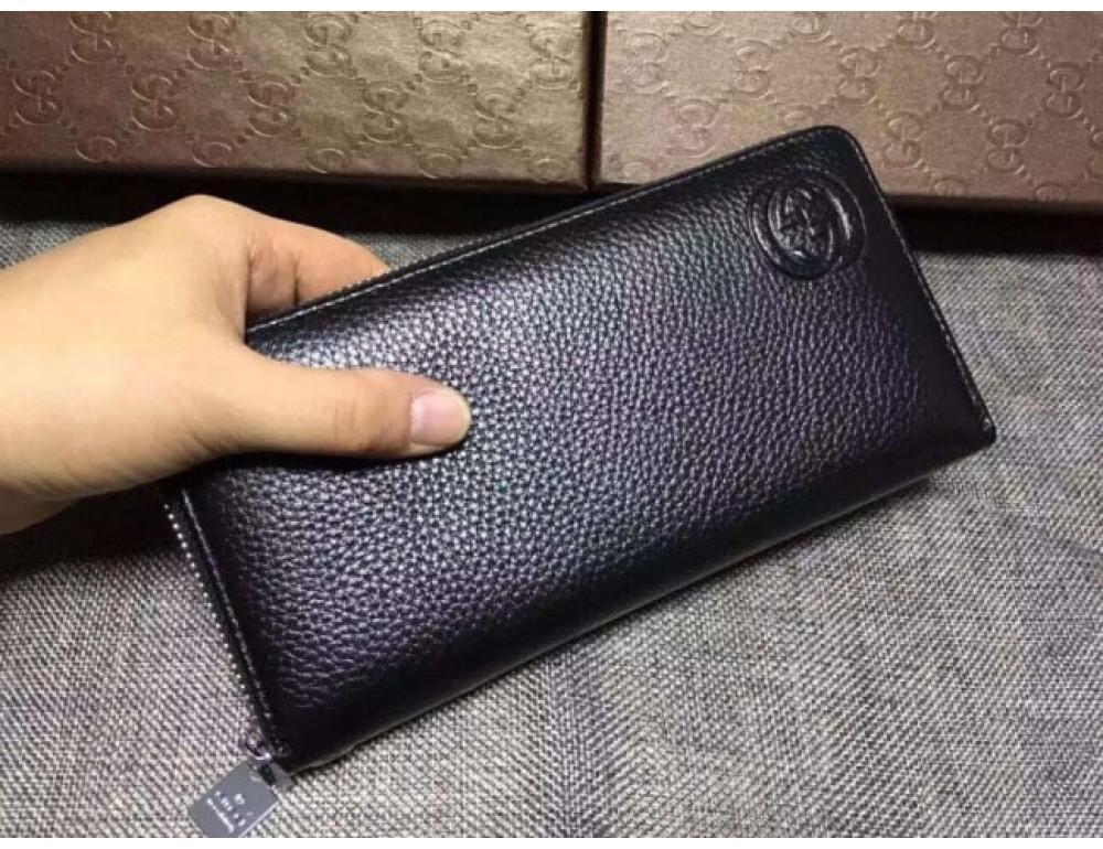 Кожаный клатч Gucci Wallet4-7008 чёрный - Фото № 4